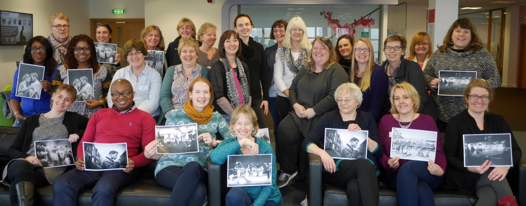 Attendants at the Creative Writing for Academics Workshop at Bournemouth University. Some hold copies of the photograph from which they created a story.