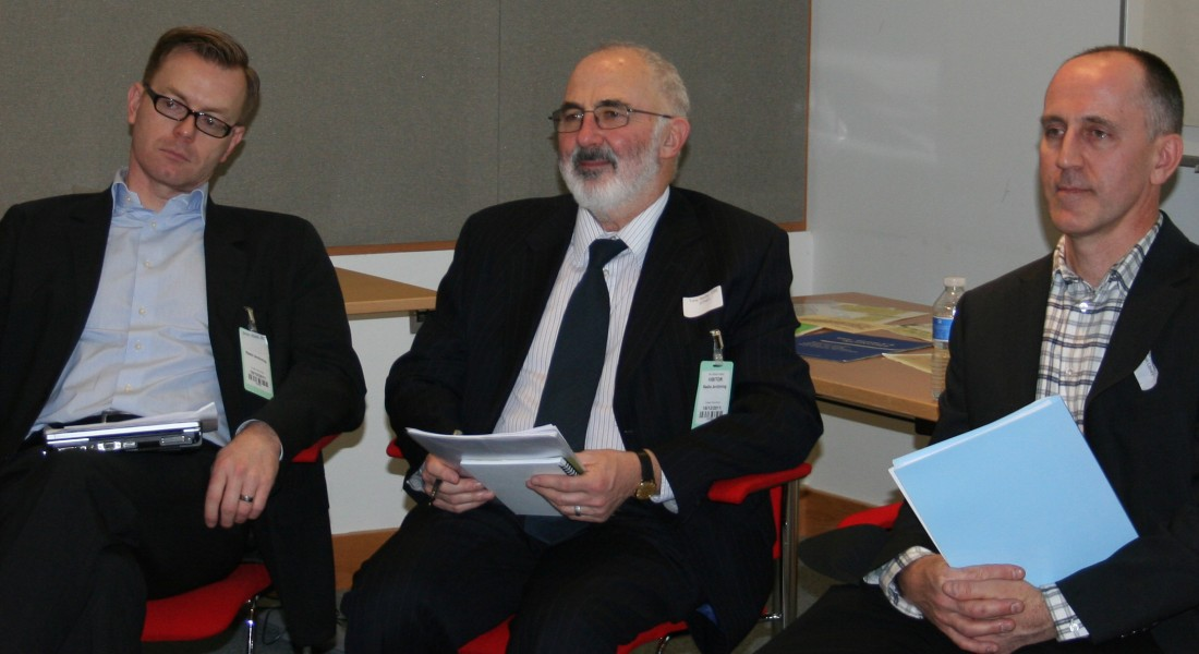 L-R: Simon Rook (BBC) Tony Stoller (BU) and Paul Wilson (British Library) at an archives summit held at the British Library.