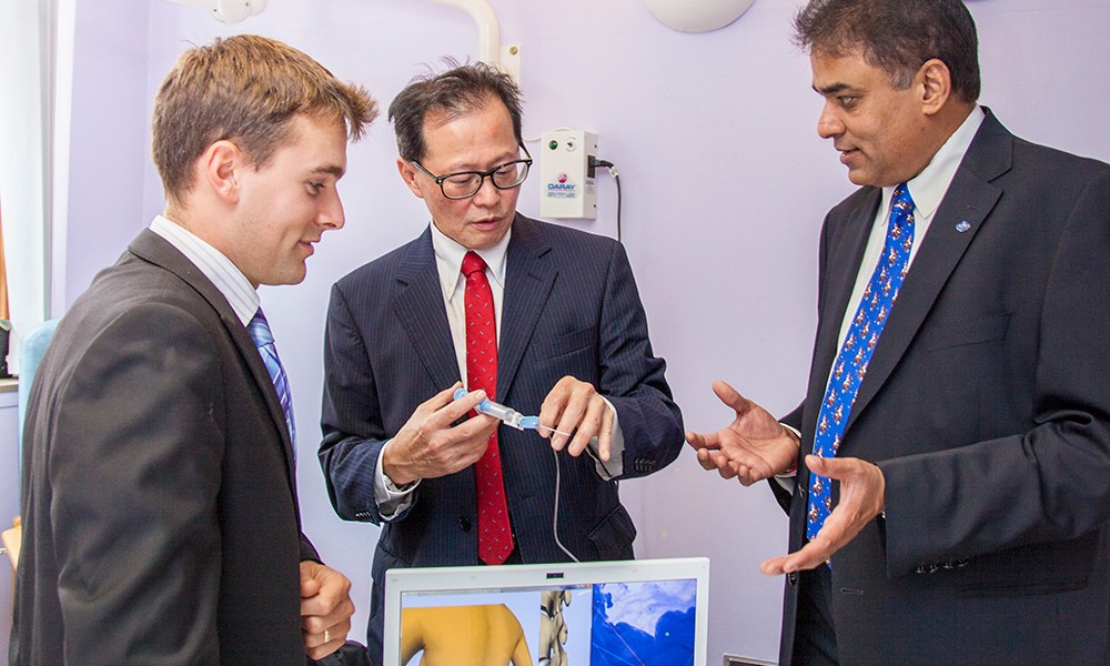 L-R: PhD student Neil Vaughan, Professor Michael Wee and Dr Venky Dubey.