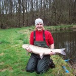 Josie Pegg with a grass carp