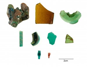 Glass finds from Glastonbury Abbey - Copyright Charlene Steele/Bournemouth University