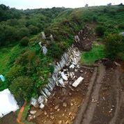 The bluestone quarry at Craig Rhos-y-felin, Wales. (Copyright Aerial-Cam Ltd)