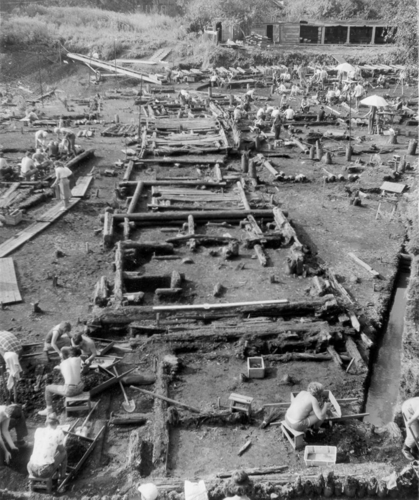 The Troitsky site in Novgorod showing excavated wooden buildings.