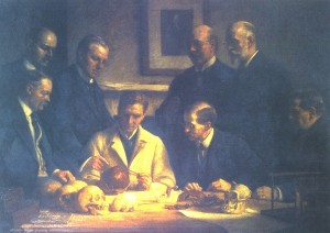 The 1915 painting by John Cooke entitled 'A Discussion on the Piltdown Skull' showing all the key investigators. Charles Dawson is standing immediately in front of the picture of Charles Darwin.