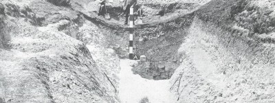A Cissbury flint mine being investigated in 1875. The earliest photograph of an archaeological section